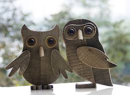 large wooden owl ornament for home office bar decoration maker