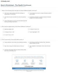 Health And Wellness Worksheets For Quiz Worksheet The Health Continuum Study Com