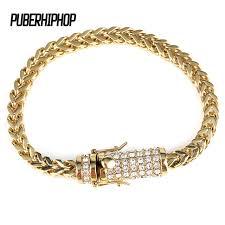 cuban gold bracelet images Men 39 s stainless steel gold bracelet iced out miami cuban link jpg