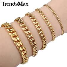 stainless gold bracelet images Trendsmax 3 5 7 9 11mm mens boys gold color stainless steel jpg