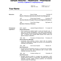 Example Of Pharmacist Resume by Perfect Pharmacist Resume Template Example With Professional