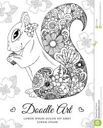 vector illustration zentangl squirrel with flowers doodle