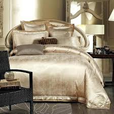 Bed Set Sale Gold White Blue Jacquard Silk Bedding Set Luxury 4pcs Satin Bed