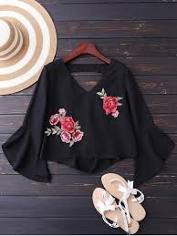 s blouse embroidered flare sleeve low back blouse black blouses s zaful