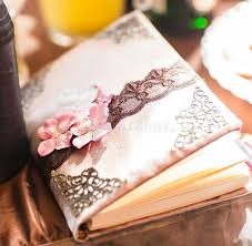 wedding wish book wedding wish book decorated with flowers and lace stock photo