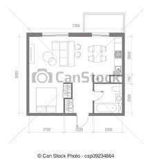 top view floor plan architectural floor plan with dimensions studio apartment clip