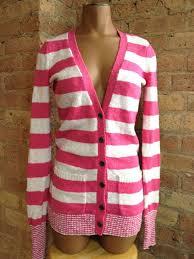 s secret pink plush cardigan size x small white striped