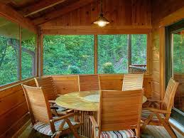 4 bedroom cabin with screened in porch and outdoor fireplace