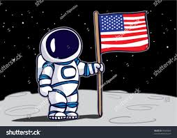 Picture Of Flag On Moon Astronaut Planting Flag On Moon Stock Vector 59365069 Shutterstock