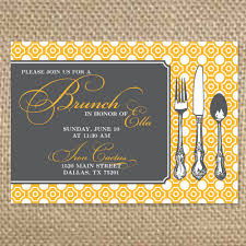invitations for brunch yellow colored brunch invitations template with fork and spoon