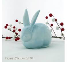 bunny cotton holder light blue rabbit ceramic cotton holder for bathroom vanity