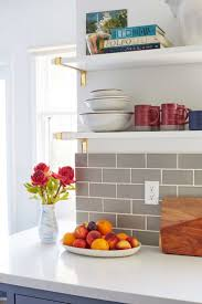 best small kitchen backsplash ideas pinterest compact cooking area with floating shelves gray backsplash and marble countertops