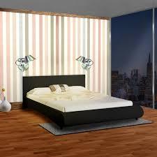 chambre avec lit noir lit 2 personnes en simili cuir avec tête de lit 140 x 200 cm noir
