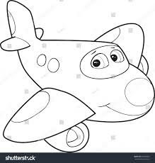 coloring page outline cartoon smiling airplane stock vector