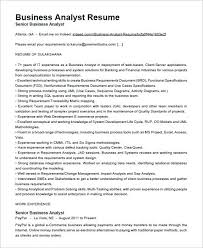 Business Analyst Resume Template Cognos Business Analyst Cover Letter
