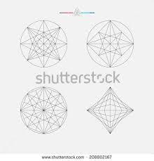 geometric drawing circle design square design stock vector