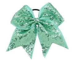 mint green ribbon fancy sequin mint green cheer bow pony 3 ribbon hair