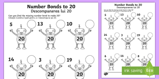 number bonds to 20 on robots activity sheet english romanian