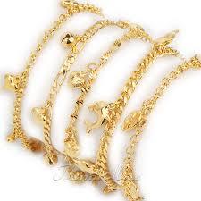 girls bracelet gold images Womens girls bracelet 18k gold filled charm bracelet link chain jpg