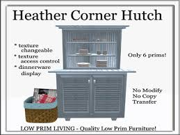 corner hutch cabinet for dining room second life marketplace heather corner hutch set texture changeable