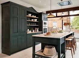 Black Lacquer Kitchen Cabinets by Kitchen Gorgeous Painted Black Kitchen Cabinets With Oven Fridge