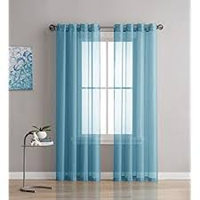 Sheer Teal Curtains Grommet Semi Sheer Curtains 2 Pieces Total Size
