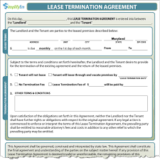 Early Termination Of Lease Letter Maryland Lease Termination