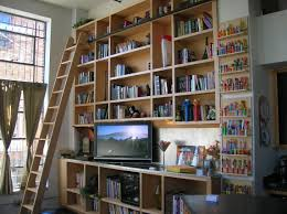 Library Bookcases With Ladder Astounding Home Library Shelving With Ladder Photo Decoration