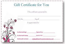 editable gift certificate template free custom gift certificate