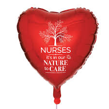 nurses day balloons nurses it s in our nature to care heart shaped foil celebration