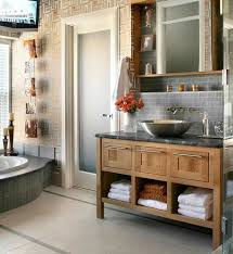 appealing small bathroom wooden vanity plus chrome vessel plus