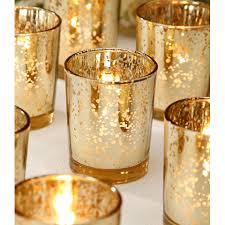 David Tutera Wedding Centerpieces by David Tutera Mercury Glass Votive Gold Candle Holder 2 5 Glass