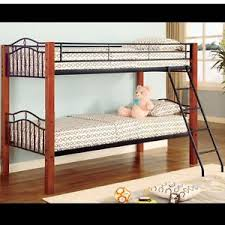 Bunk Bed Mattress Board Casual Style Haskell Black Metal Cherry Wood Bunk Bed