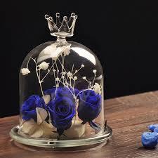Vase Home Decor Crystal Crown Glass Cover Flower Vase Home Decor Diy Tabletop