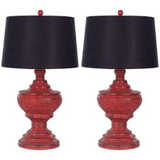 safavieh 29 in distressed red chinese red urn lamp set of 2