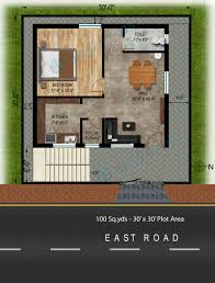 way2nirman 100 sq yds 30x30 sq ft east face house 1bhk floor plan