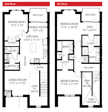 Three Bedroom House Plans Oakbourne Floor Plan 3 Bedroom 2 Story Leed Certified Townhouse