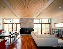 modern wooden ceiling design for lovely open living and dining