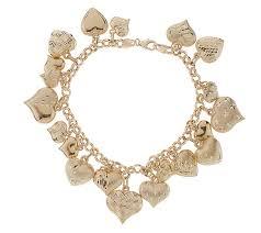 multi heart bracelet images 7 1 4 inch diamond cut multi heart charm bracelet 14k gold page