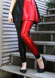 Size Harley Quinn Halloween Costume Red Black Harley Quinn Metallic Leggings Xs Xl 2xl 3xl