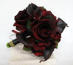 real black roses silk bouquet real touch majestic calla black