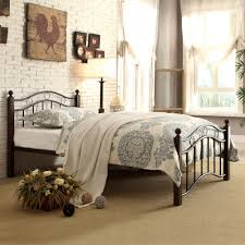 Black Metal Headboard And Footboard Abigail Brown Metal Platform Bed Multiple Sizes Walmart Com