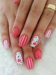 8 heart nail designs for valentines day acrylics