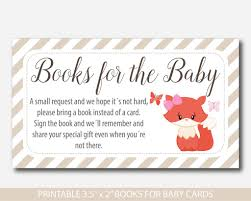 bring a book instead of a card baby shower fox book request baby shower fox inserts fox baby shower books