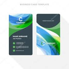 vertical double sided business card template with abstract