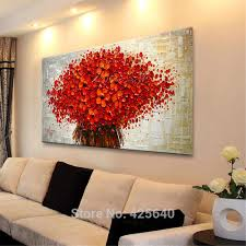framed red tree oil painting on canvas black u0026 white abstract
