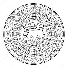 saint patricks day theme mandala with irish pot of gold and golden