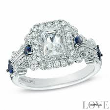 Vera Wang Wedding Rings by Vera Wang Love Collection 1 1 8 Ct T W Emerald Cut Diamond And