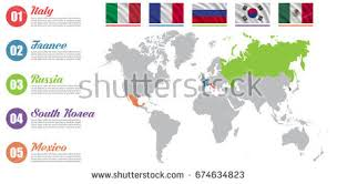mexico in the world map world map infographic slide presentation italy stock vector