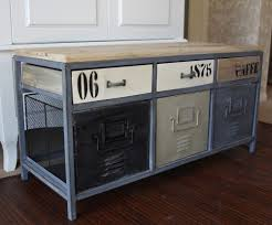Industrial Style Bench Metal Industrial Locker Style Storage Bench Wooden Green Grey